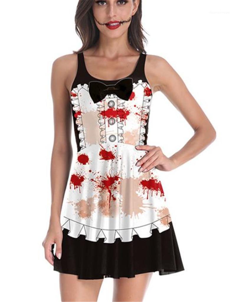 Printed Schwarze Uniformen Cosplay Bereaved Mädchen-Kostüm Halloween Kleider Modedesigner-Partei-Kleid mit Knopf Digitalen