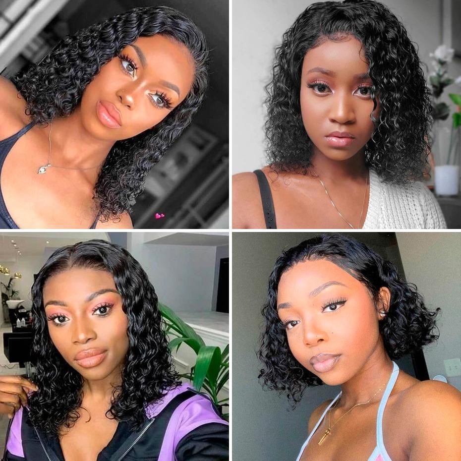 Curly 4 * 4 Verschluss Perücke kurze Perücken Menschenhaar-Perücken für schwarze Frauen 130% 150% 180% Dichte Remy preplucked Babyhaar gebleichter Knoten