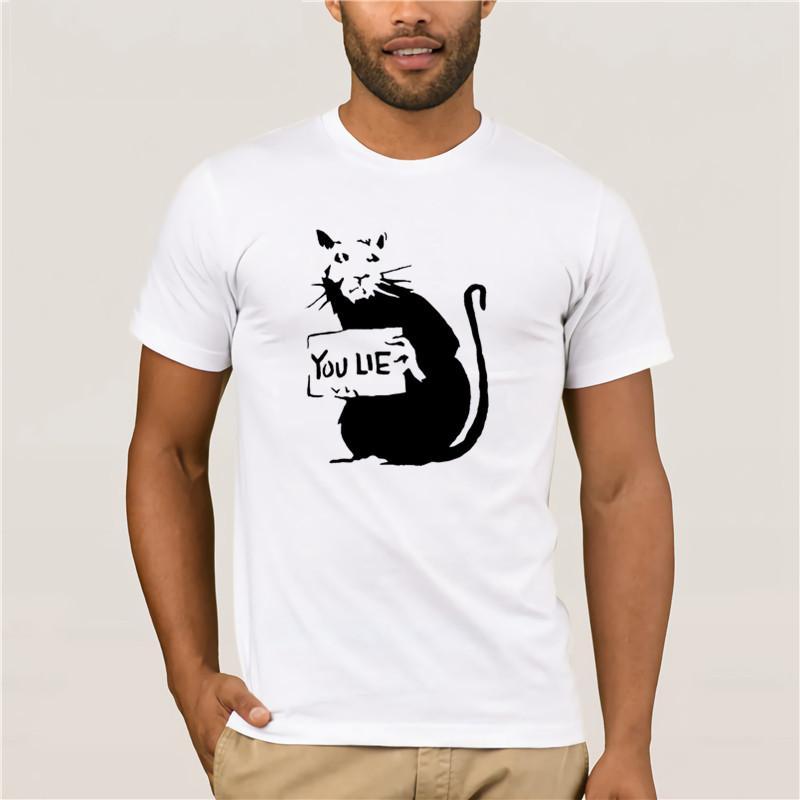 per mans tee shirt Hipster Harajuku marchio di abbigliamento ratto di Banksy È Lie qualità Mens XL 100% cotone maglietta degli uomini