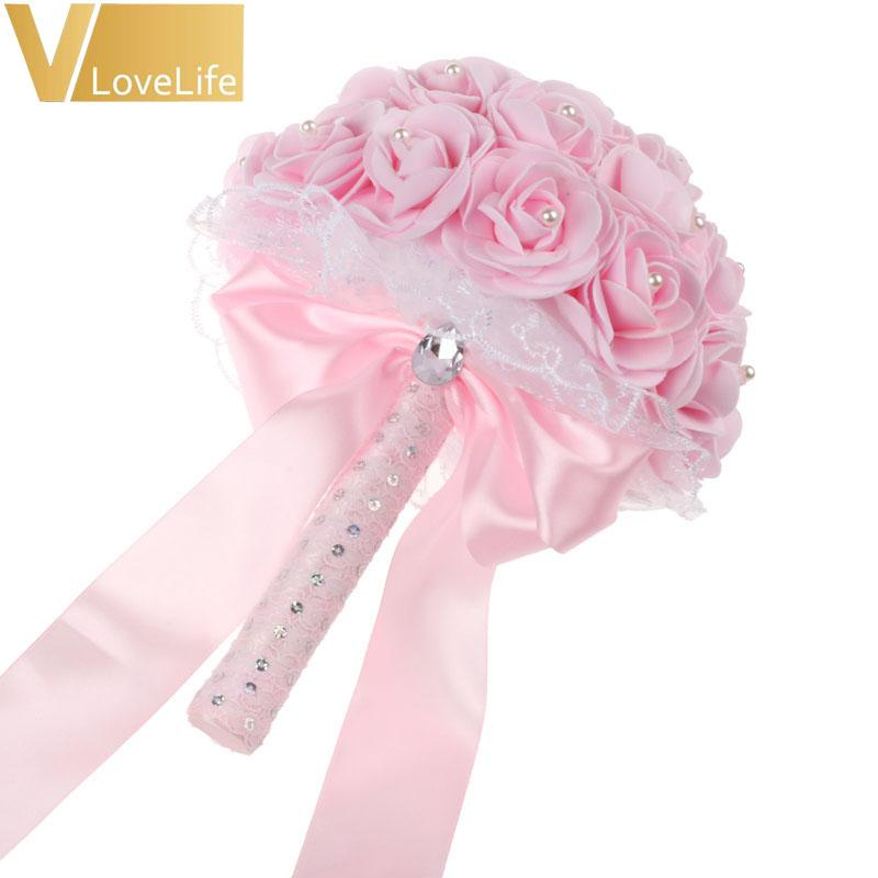 Artificial Flower Bouquets Wedding Bridal Bouquet with Rhinestone Pearls Satin Ribbons Bow Wedding Event Party Favors Decor