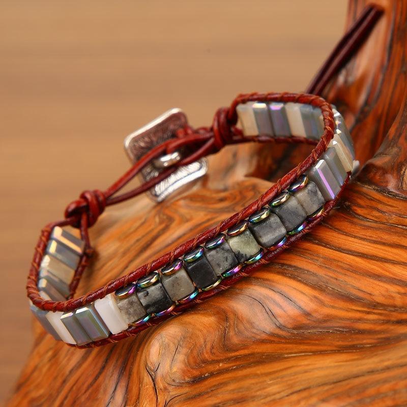 Natural pulseira pedra criativo yoga Pulley Pedra Energia tecidos à mão colorido polia Sz21S Imperador pulseira