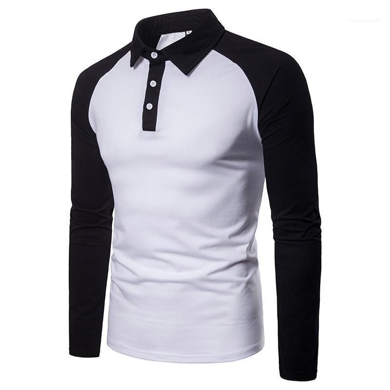 Sleeve Lapel Neck Tees Men Clothing Men Designer Panelled T-Shirts Fashion Contrast Color Tees Casual Long