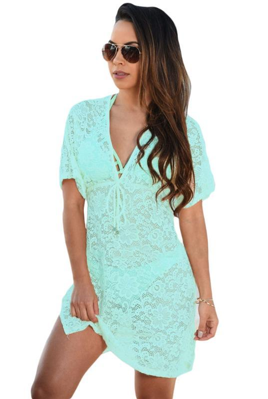 Weiß Short Sleeve See-through Spitze-Strand-Vertuschung-Kleid Vestidos De Playa Feiertags-Art-Kleid Vestidos De Playa 4F42054