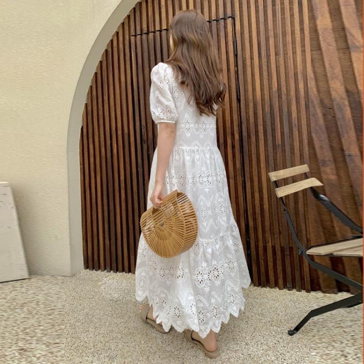 rDXq8 2020 yazında yeni kadın V yaka düz renk nefes etek içi boş işlemeli beyaz yaz büyük elbise Etek elbise boyutu