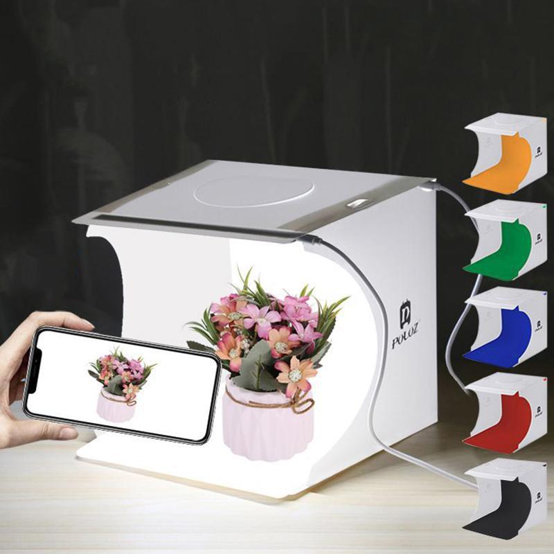 Dobrar caixa Mini Lightbox Luz Background Fotografia Foto Estúdio Softbox 2 Painel de luz LED macio Box Foto Kit para DSLR Camera