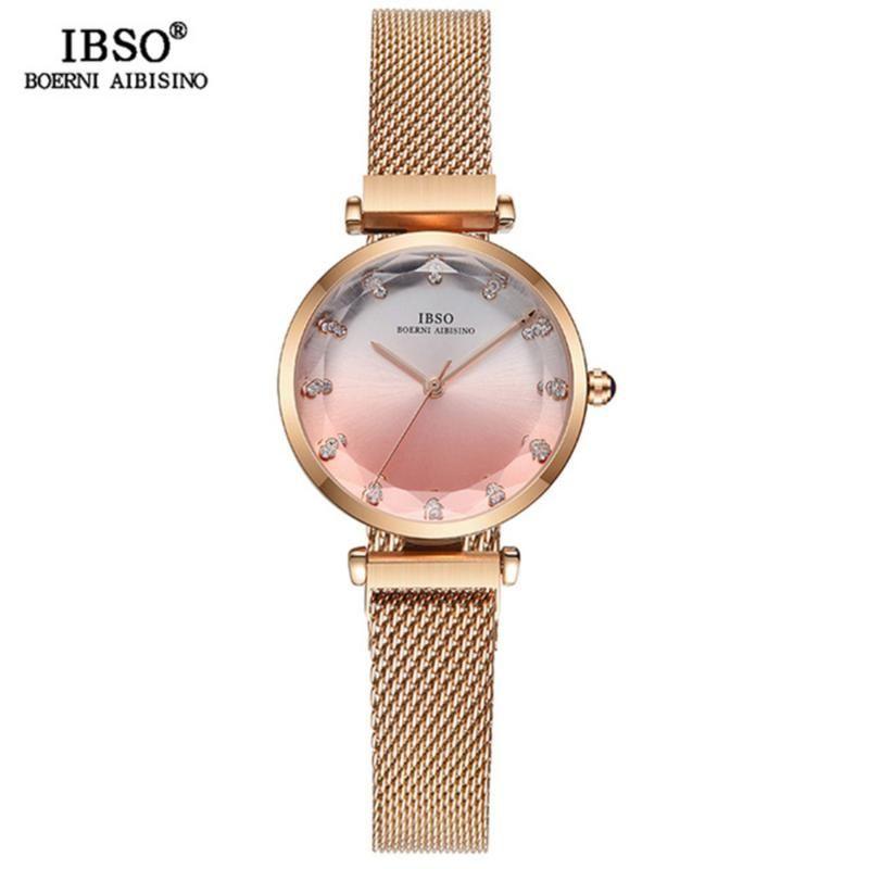 IBSO Luxo Moda Watch Mulheres Hit Cor Relógios Feminino Cut vidro Projeto de relógio de quartzo Magnet Buckle Ladeis Relógios Montre Femme