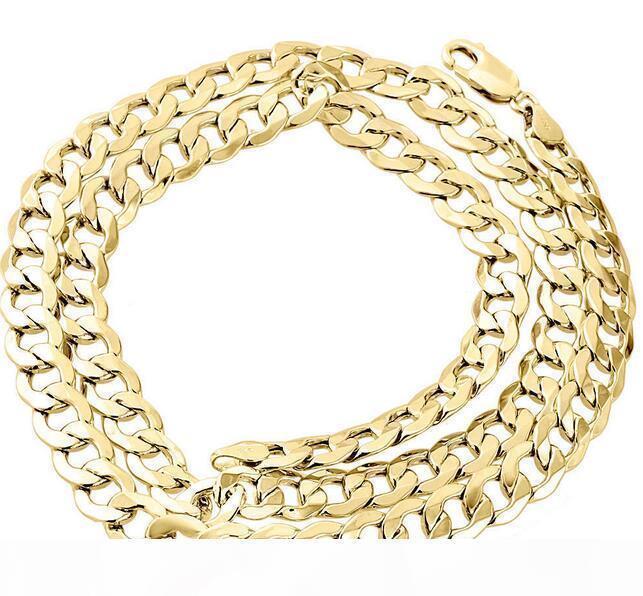 Mens Echt 10K Gelbgold Hohle Cuban Curb Gliederkette Halskette 8mm 24 Zoll