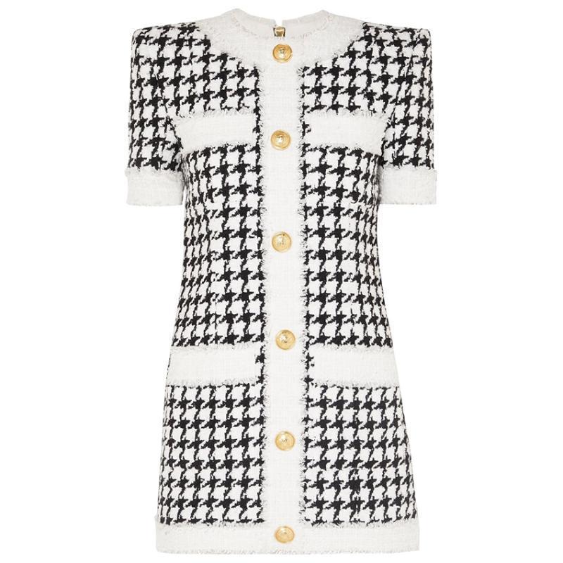 HIGH QUALITY 최신 2020 가을 겨울 디자이너 드레스 여성의 짧은 소매 드리 워진 물떼새 격자 트위드 드레스