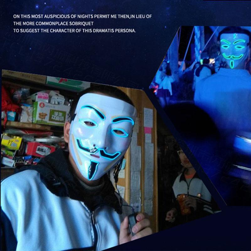 Бесплатная доставка Halloween V Vendetta Световой маску Пром Маски Street Dance Холодного свет производительность Атмосфера Принадлежит Бар Ночного F1303