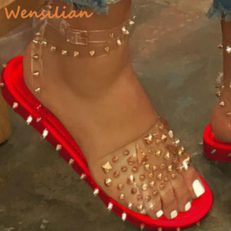 Piattaforma delle signore estate libera dei sandali per le donne 2020 scarpe sexy trasparente Rivet piatto punk Beach Zeppe gladiatore Sandale Femme Y200620