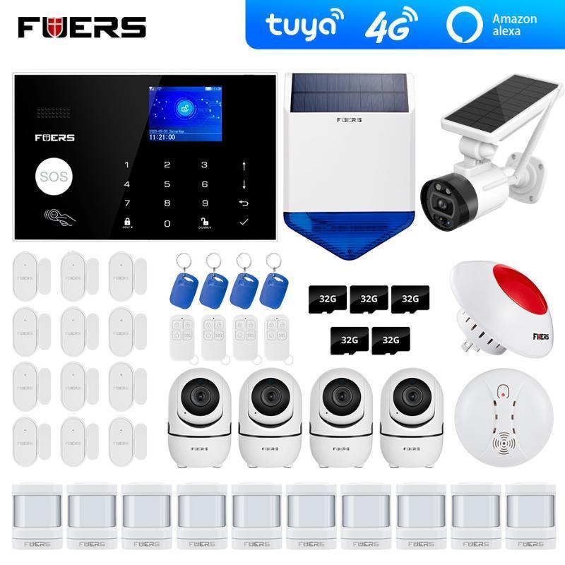 systèmes d'alarme GSM 4G Wifi Tuya Alexa Accueil de sécurité du clavier de l'appareil solaire d'alarme Smart Home Intrusion SystemTuya caméra Wifi