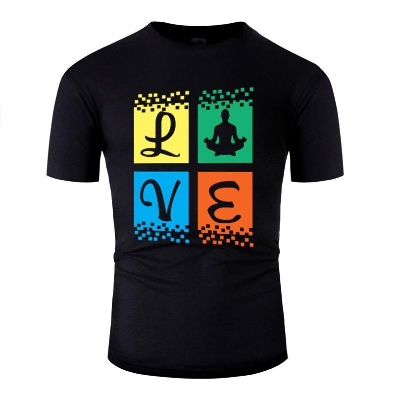 Personalizado novidade Amor Yoga T Shirt Man Cotton O pescoço dos homens Camiseta Streetwear