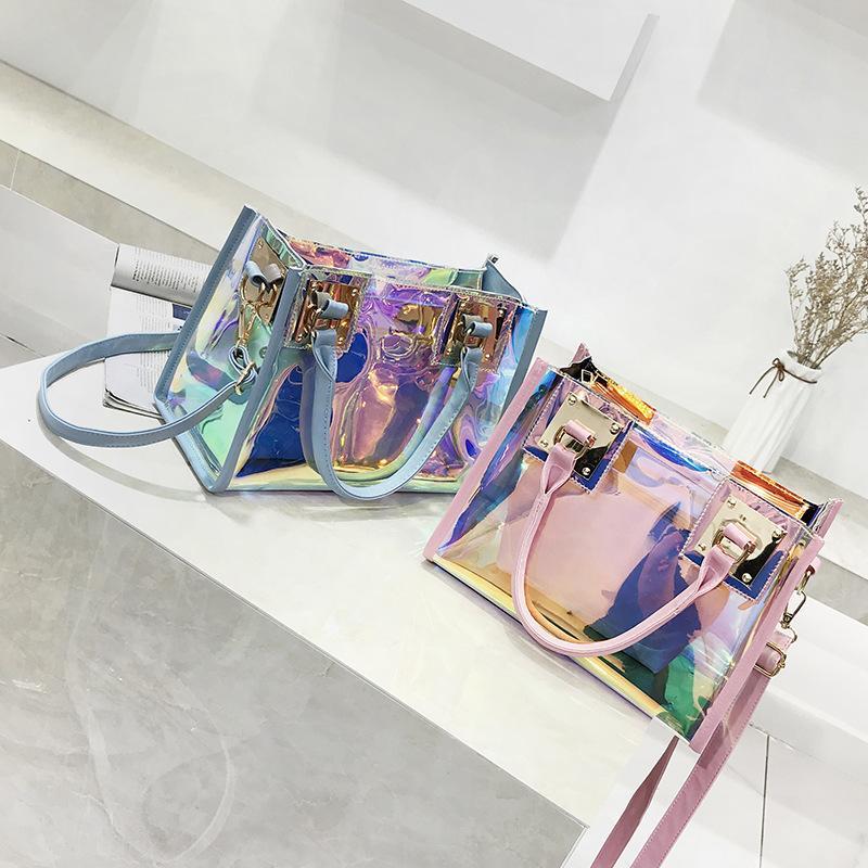 Transparentes Holograma sacos de mão das senhoras 2018 de Moda de Nova Laser Crossbody bolsa PVC Feminino Big Tote menina Limpar bolsas Bolso Mujer
