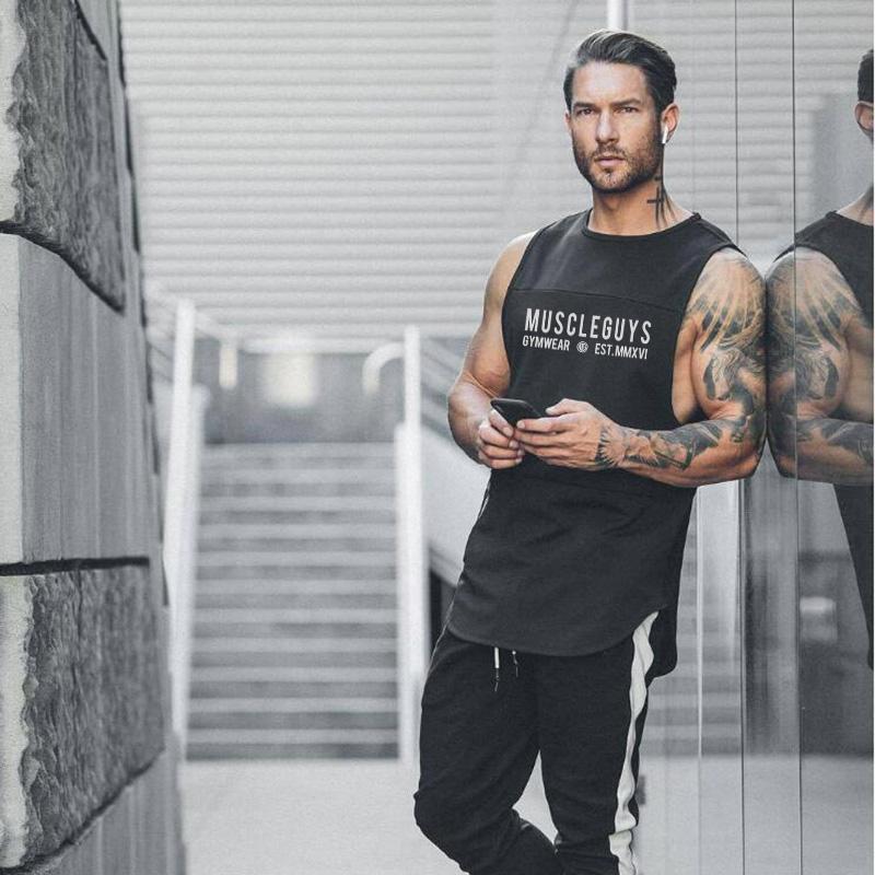 NOUVEAU Bodybuilding Sport Débardeurs Hommes Courir Vest Gym Fitness Workout sans manches maille O Neck Stringer singlet