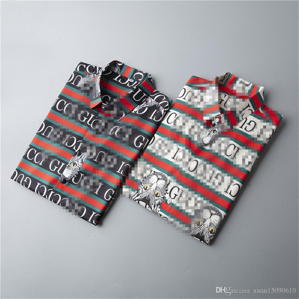 2020 nuevas camisas de los hombres de otoño / invierno estilo caliente monotipo de manga larga camisa casual tendencia