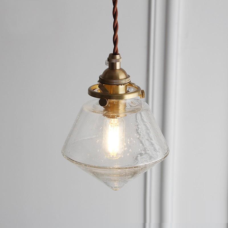 Einfache Messing Glas führte Kronleuchter Lichter Retro-Restaurant Schlafzimmer LED-Lichtleiste Persönlichkeit geblasene Blase Glaspendelleuchten