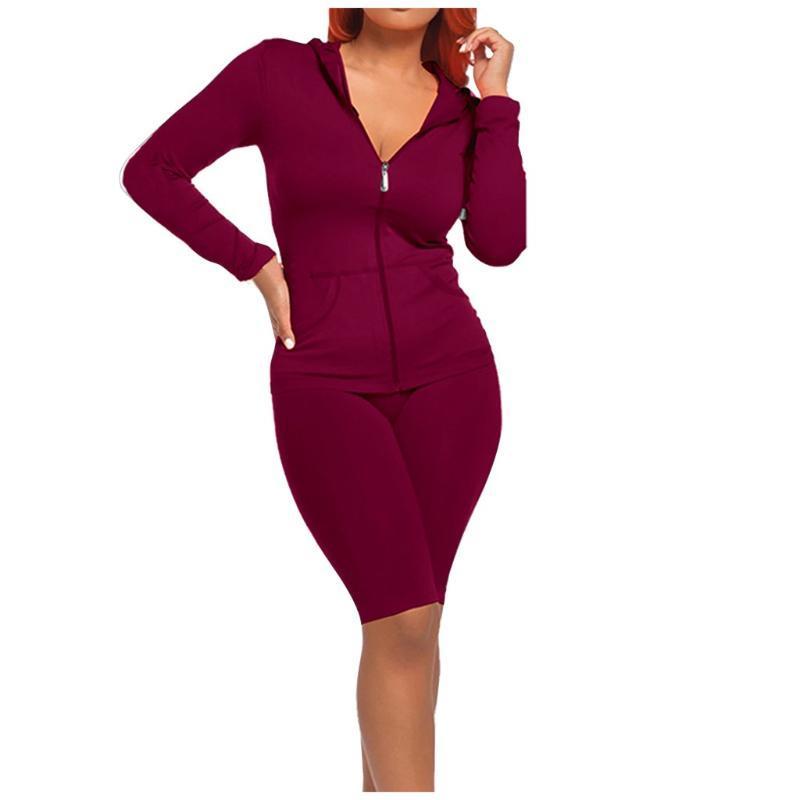 Женская мода осень Slim Fit Tracksuit Lady Split 2 шт Спортивный костюм 2020 женщин Набор Casual Solid Color Conjunto Moletom # 3