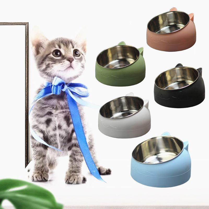Cat Bowls Feiters Cute и собака Чаша защита шейного позвонка 15 градусов наклонный рот PET нержавеющая сталь 16,5 х 10 см