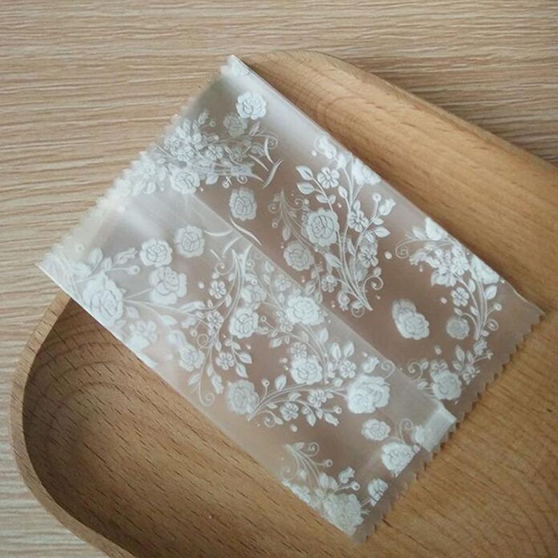 100pcs embalaje del regalo bolsa de plástico de embalaje Galletas panificadora Material Rosa Blanca Partido Paquete Galletas Confites decoración de la boda