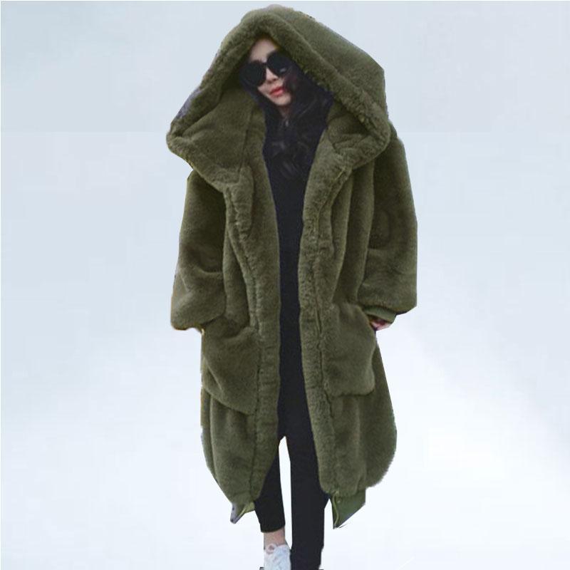 المتضخم الشتاء فو الفراء معطف المرأة سترة طويلة الدافئة فو الفراء سترة معاطف هوديس فضفاض معطف الشتاء أبلى casaco feminino