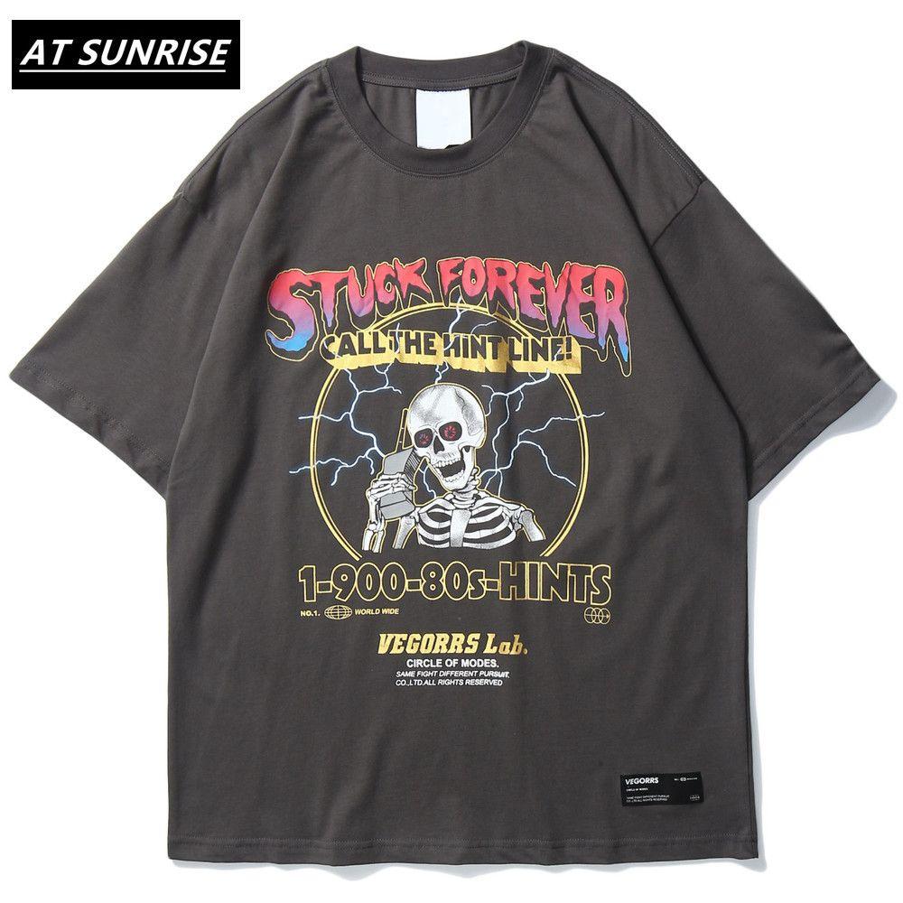 Hop T shirt 2020 uomini della maglietta di divertimento di stampa cranio Hip selvaggio T-shirt Streetwear Vintage magliette a maniche corte estiva supera i T Cotton LJ200827