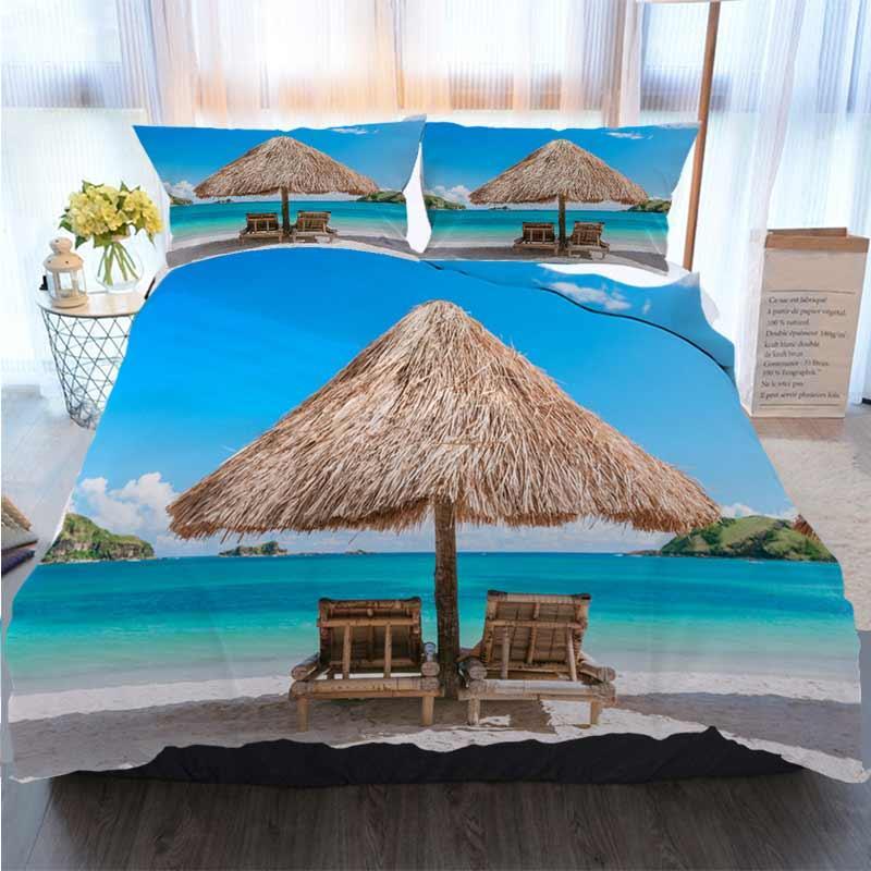 Feliz Natal edredon cobrir Set palha guarda-sol e cadeiras de madeira sobre os conjuntos Praia Quilt Bedding Consolador de cama