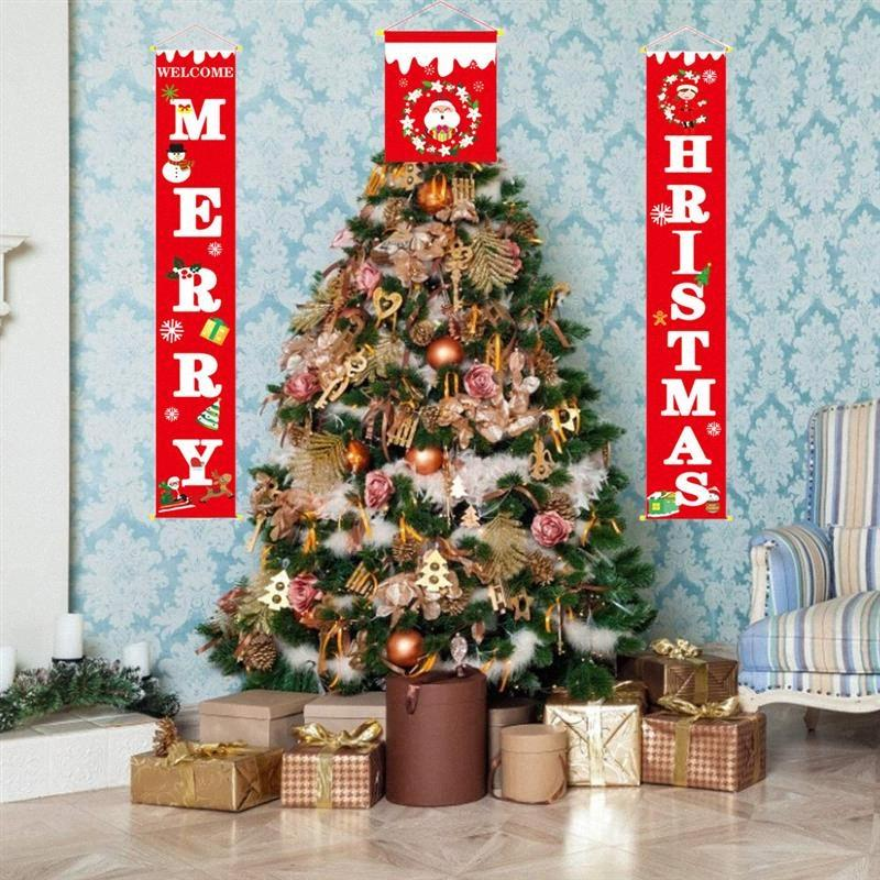 Frohe Weihnachten Tür Banner rot und schwarz karierte Porch Zeichen Neujahr Weihnachtsdekorationen für Haus Wand-Tür-Party im Freien Innen 4TN0 #