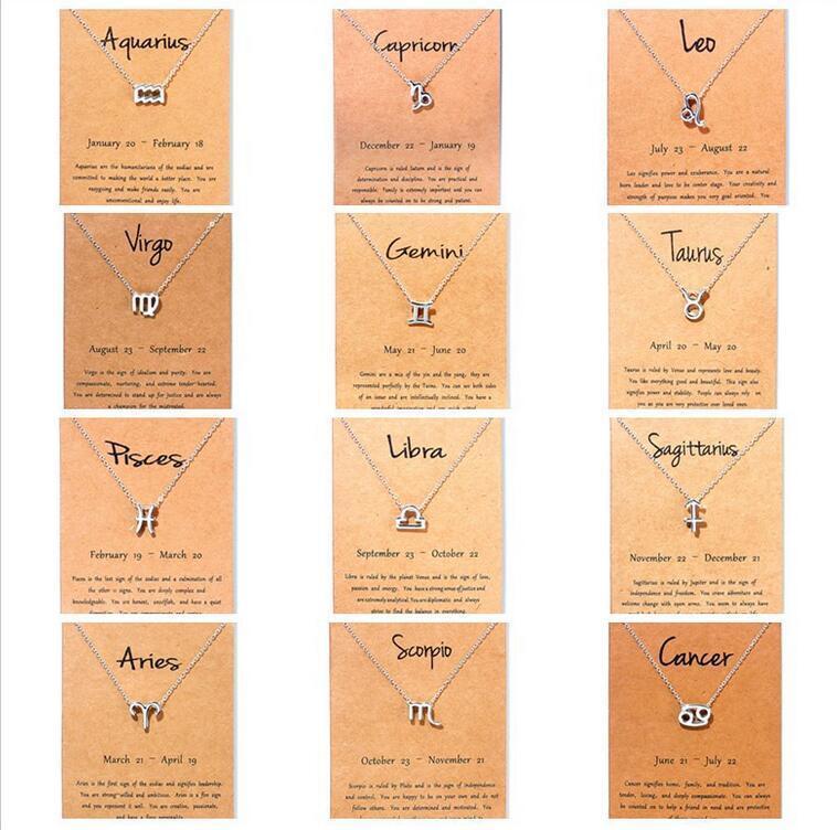 12 Collares del zodiaco con la tarjeta de regalo Constelación Signo colgante Cadenas de plata Collar para hombres Mujeres Joyería de moda en bulto gratis