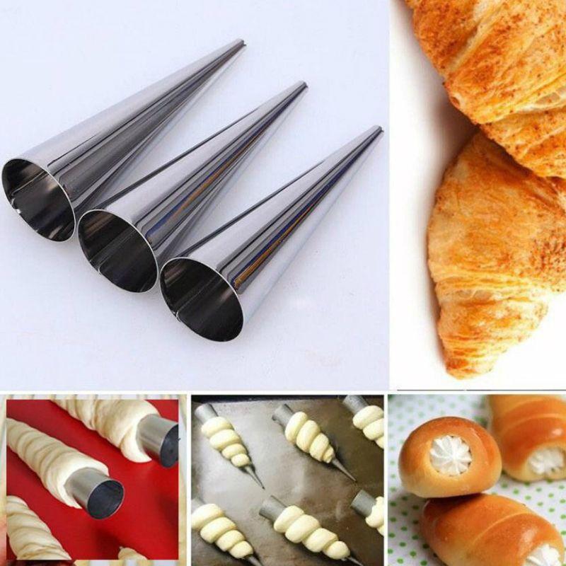 الكرواسون القرن قالب لولبية أنابيب الفولاذ المقاوم للصدأ الخبز المخاريط المعجنات لفة الخبز العفن خبز خبز الحلوى KitchenTool