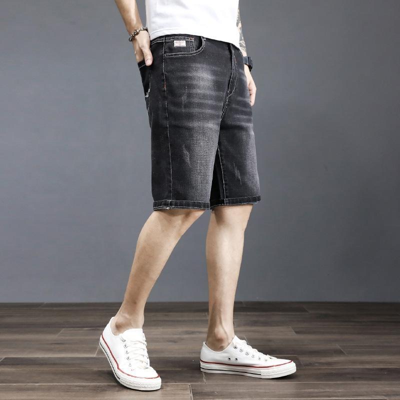 pantalones vaqueros de cinco puntos tubo recto del todo-fósforo Pantalones cortos de estiramiento de verano delgada y los pantalones vaqueros de los hombres ceKxD iT5GB gran tamaño y pantalones cortos de mezclilla de los hombres pierden