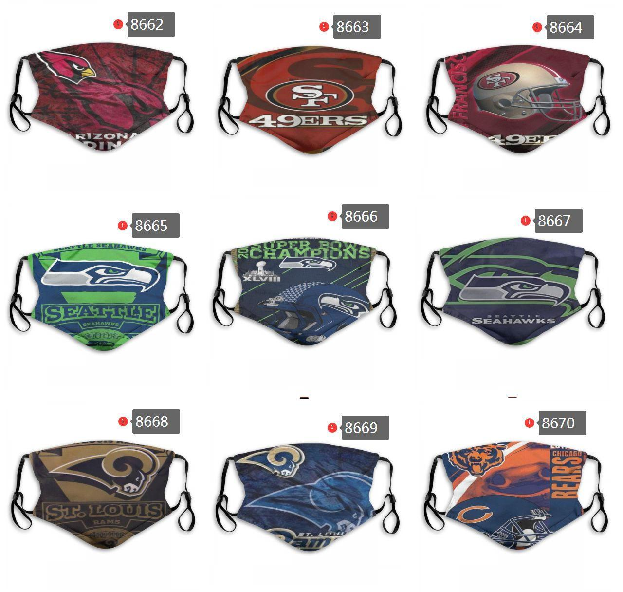 Новый роскошный Designer 5 Слой защита от пыли маски Pure Cotton Личности регби команды Las Vegas Рейдеры викинги многоразового Face Mask РМ2,5