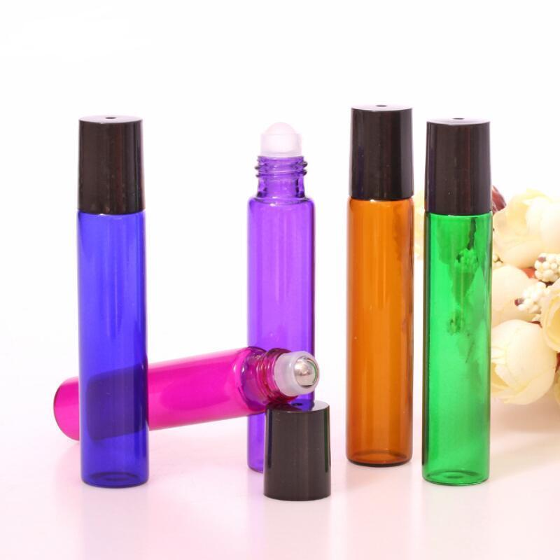 10ml 빈 유리 롤 병에 파란색 빨강 녹색 앰버 클리어 롤러 컨테이너 1 / 3oz 에센셜 오일, 아로마 테라피, 향수 및 립밤