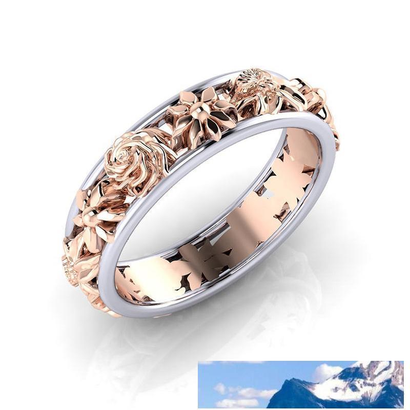 Contrasto di colore rosa del fiore dell'oro anelli a fascia Anelli anello di matrimonio regalo delle donne volontà e trasporto di goccia di sabbia
