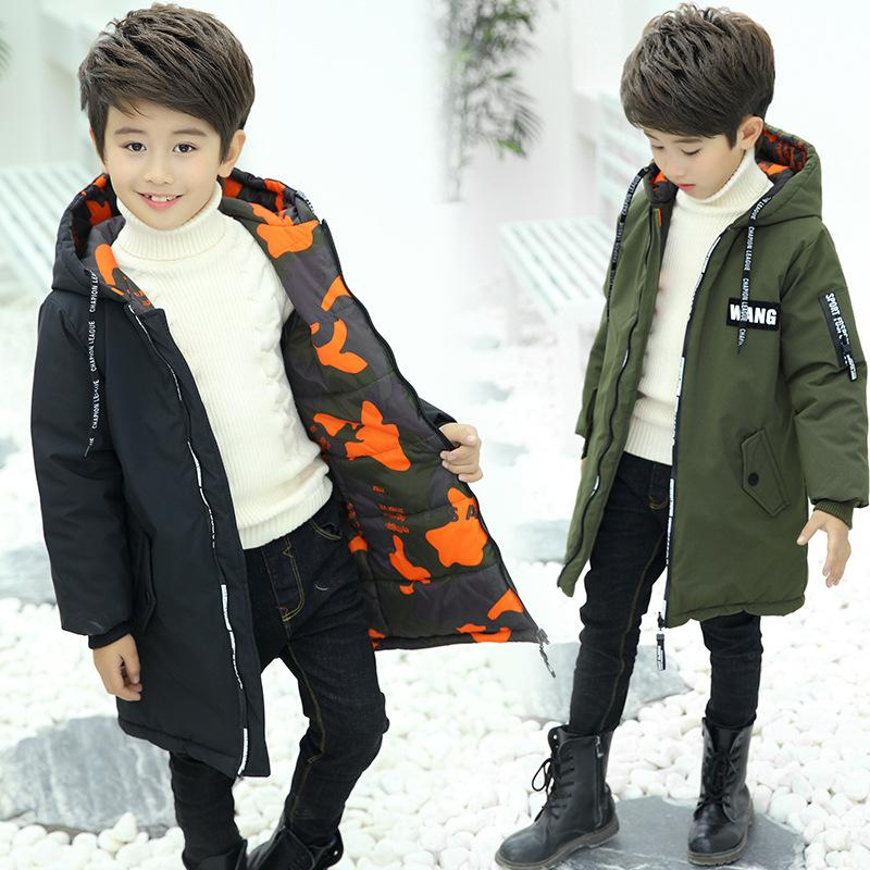 Baby Boys Winter Coat 4-13 Years Old Children's Thick Down Camouflage Both Sides Wear Label Cotton Coat Winter Coat Boys