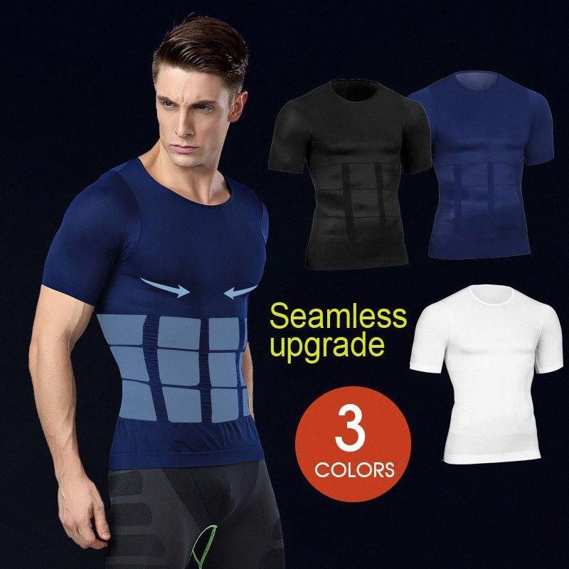 Hombres Hot Body Shapers de la cintura del corsé Trainer T Shirts adelgaza la talladora del cuerpo de modelado correa masculina Fajas de compresión Sheat camiseta LOm8 #