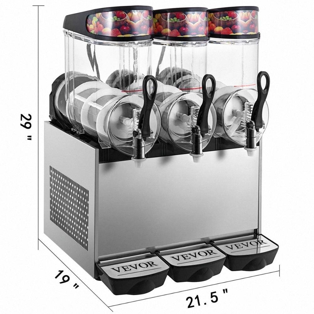 GRADE MATERIA Triple-Bowl Полный размер Слякоть Замороженный напиток машина 900W Коммерческое использование 12L * 3 TdPx #