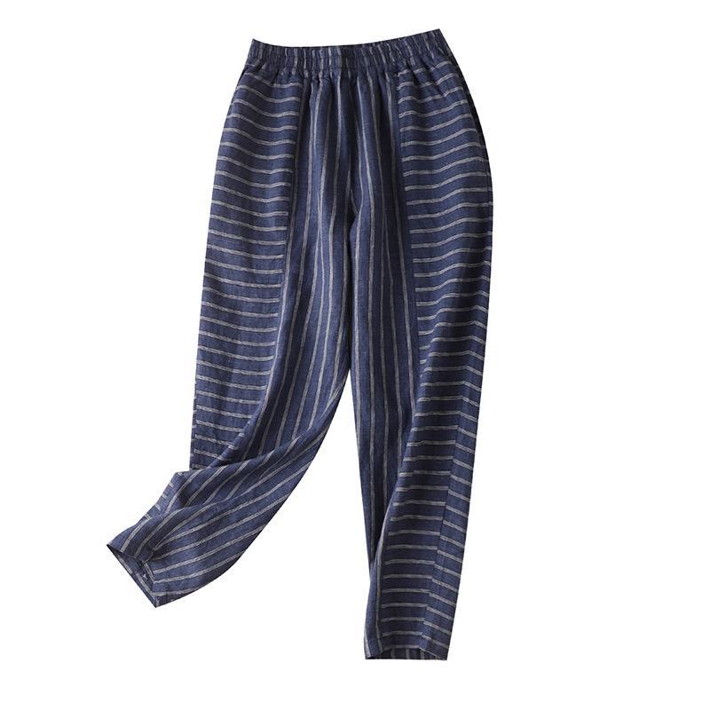 Autumn 2020 New Loose Women Striped High Elastic Waist Linen Leggings Fashion High Waist Casual Pants 197118 Full Length