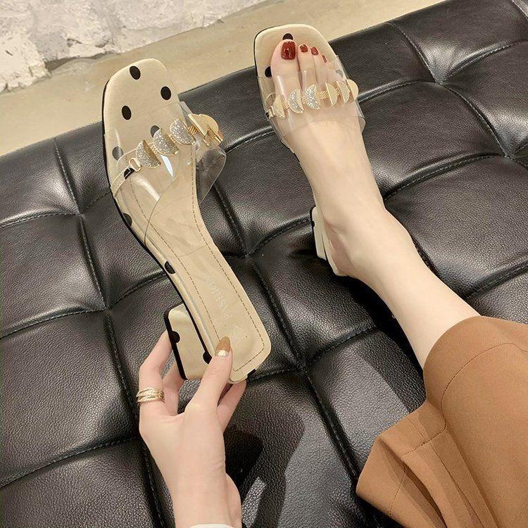 Sandali della punta trasparenti e pistoni donne 2020 estate nuovo aperte per spessi cristallo metà sandali del tallone trasparente tallone xVmCg