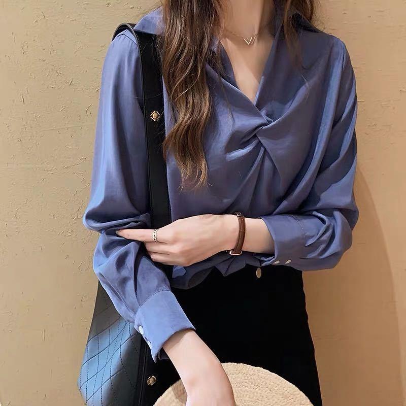 kSeYv 2019 популярного женской одежда новой моды в западном стиле Женской свободно облегающего белый верх Top белой рубашки дизайн чувства база рубашки