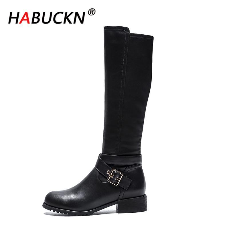 HABUCKN 2020 neue Art und Weise Stiefel für Frauen neue elegante quadratische schwarze Schuhe Frauen-Absatz feste Stiefel Vintage-Frauen Damen Schuhe