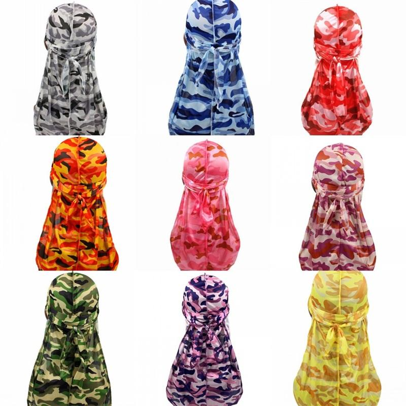 Camuflagem Turbantes Durags Caps Fixação Cabelo Beanie Chapéus cabido Sun Sombra Bonnet Envoltório principal Moda rabo de cavalo 6 2GD C2