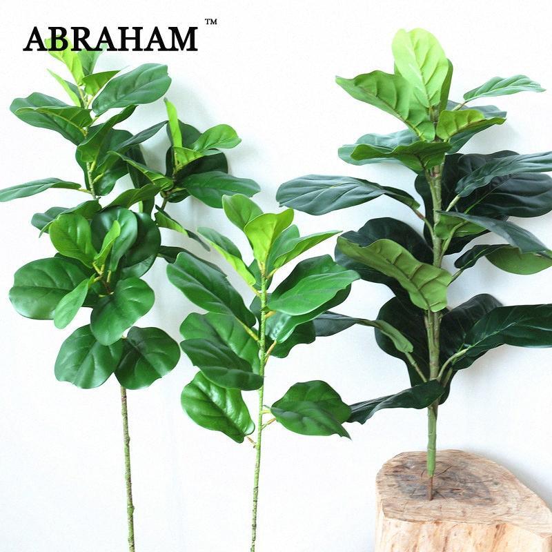 64 centímetros Grande Ficus Artificial Planta ramo de árvore Faux palma Folhas Verde Tropical Arbusto Decoração do outono Falso árvore da borracha para Home lgCf #