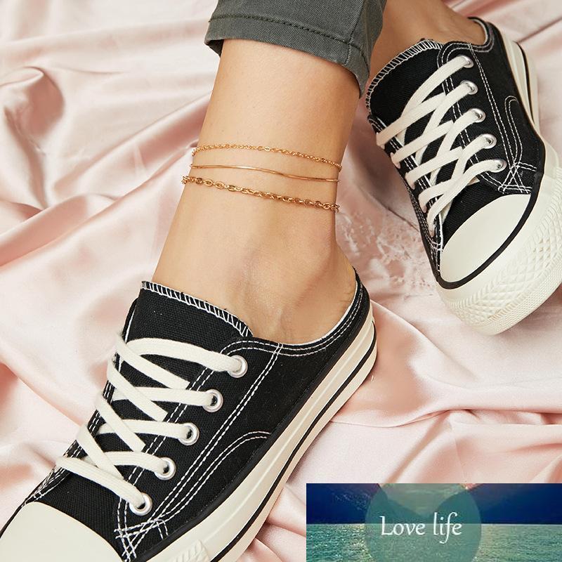 Kadınlar Moda Halhallar Zincirler 3PCS Seti Kişilik zincir Basit Bacak Ayak bileği bilezik Yılan Zinciri Altın Ayak Halhal Takı Hediye Aksesuar