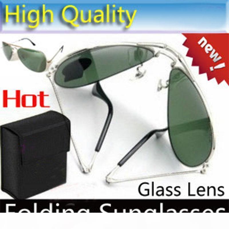 Высокое качество Складные солнцезащитные очки стекло объектива очки Mens бренд дизайнер солнцезащитные очки Складные очки Солнцезащитные очки ЖЕНСКАЯ