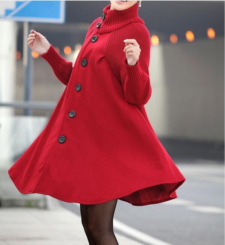 2019 de invierno nuevo estilo de Corea del gran tamaño de la ropa mitad de la longitud de las mujeres suelta la capa de lana Capa rompevientos capa de lana capa de foso