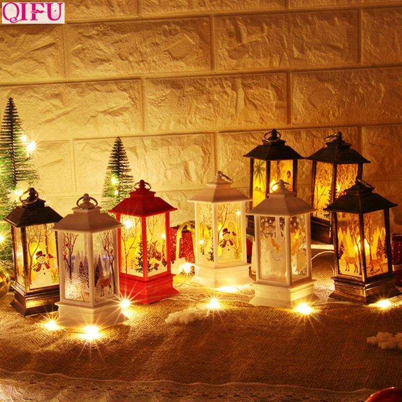 Qifu Weihnachtsmann Schneemann Deer Licht Frohe Weihnachten Dekor für Haus 2020 Ornamente Baum Navidad Noel Weihnachtsgeschenk Neujahr