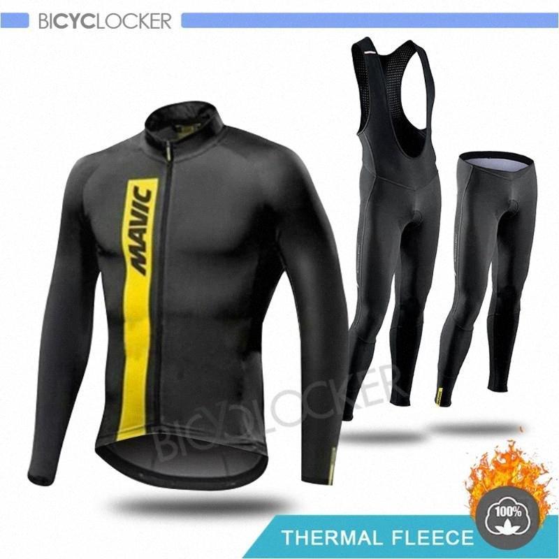 Mav Hiver Cyclisme Vêtements homme manches longues Set route Toison thermique vélo Keep Warm Riding pleine Zipper TGNJ #