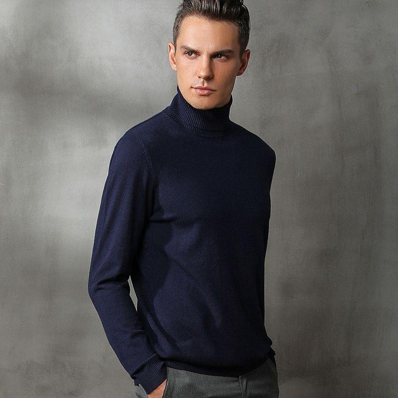 Otoño e invierno nueva cuello alto suéter flojo de las grandes empresas de tamaño color sólido ocasional CX200818 suéter de los hombres jersey de cachemir