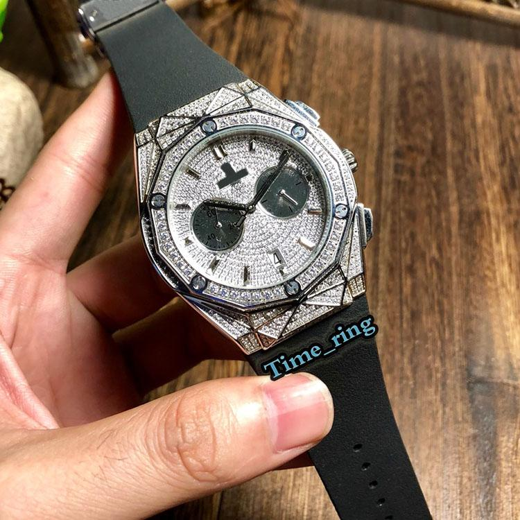 Лучший выпуск 521.OX.9010.LR.1704 Алмазный Циферблат Серебряный Diamond Case Япония VK Кварцевый хронограф Мужские часы каучуковый ремешок Спортивные часы