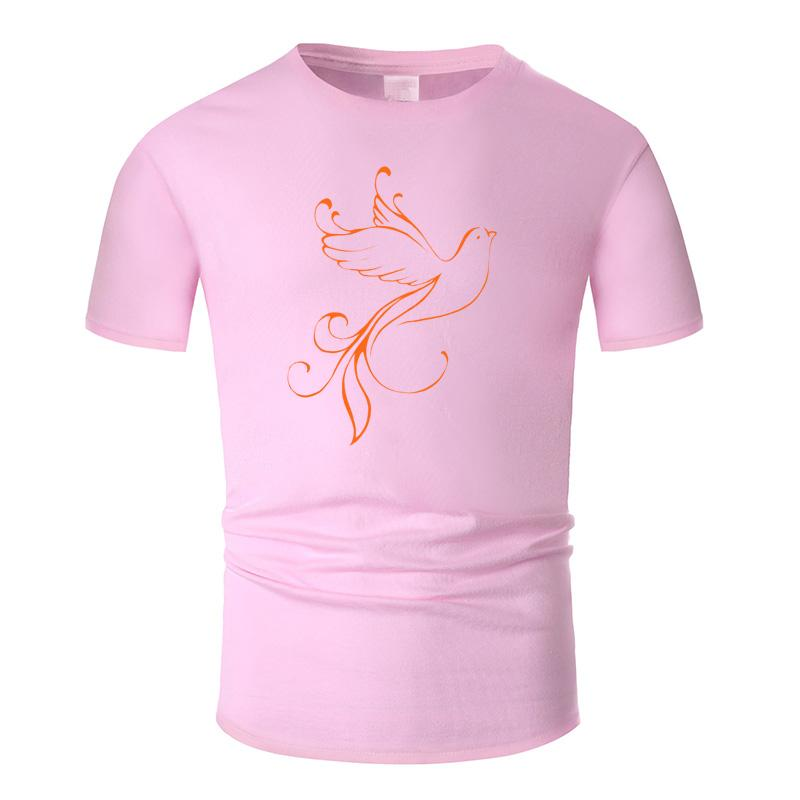 Beautiful Bird Line Art O Neck Cotton T Shirt Men and woman Unisex Summer Short Sleeve Designed Simple Style Casual Tee m01024
